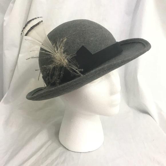 Vintage 70s Boho Bowler Style Gray Wool Offset Hat.  M 5b2d1caa4ab633f93b151422. Other Accessories ... edbcffdb8df3